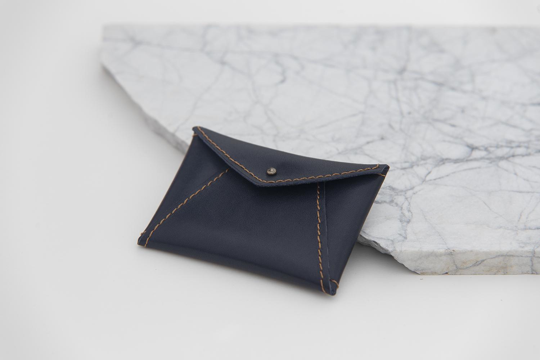 Dark Blue Leather Pouch